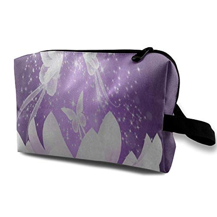 磁気主張する群集美しい紫蝶蓮の花 ポーチ 旅行 化粧ポーチ 防水 収納ポーチ コスメポーチ 軽量 トラベルポーチ25cm×16cm×12cm