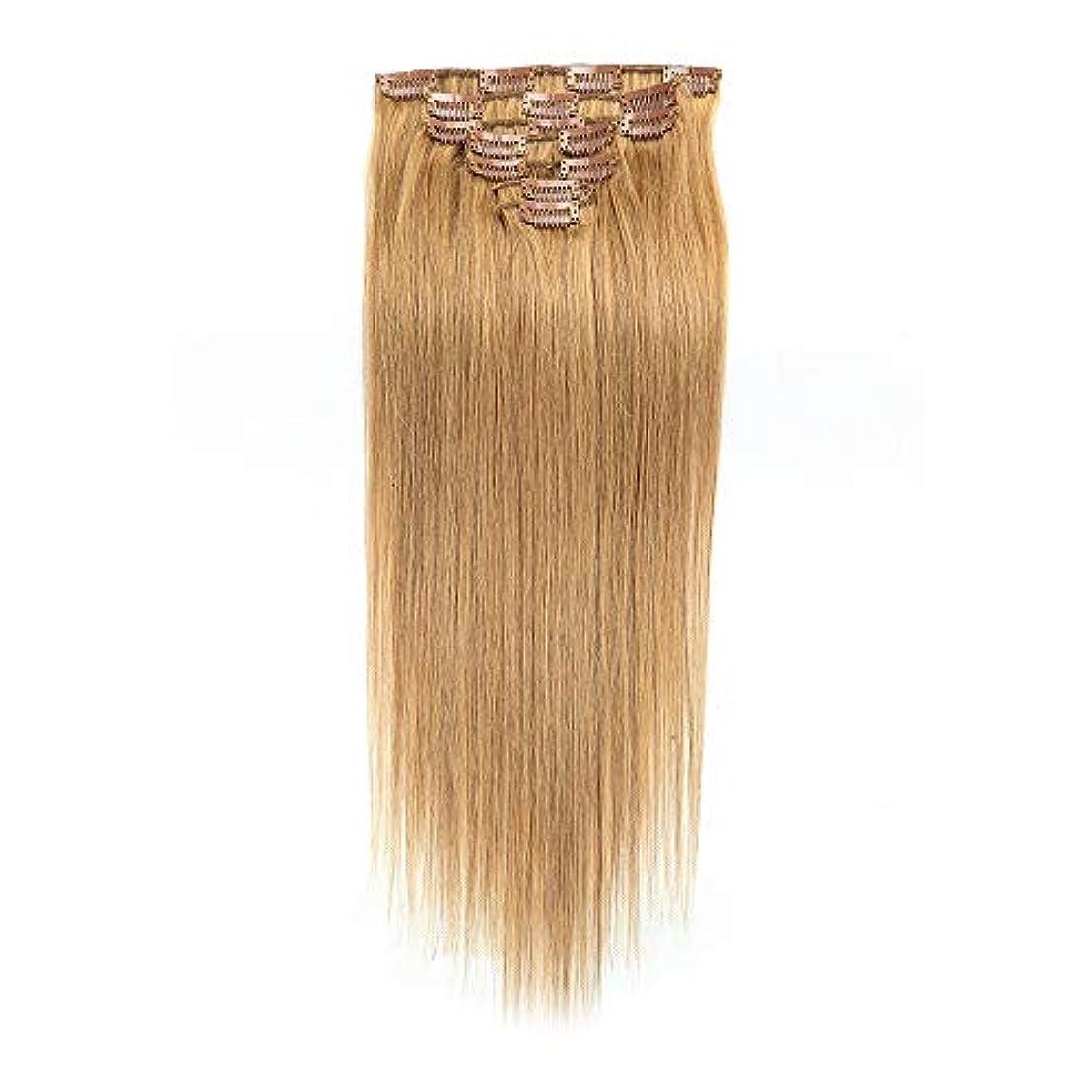 HOHYLLYA ヘアエクステンション人間の髪の毛の色#27ブロンド22インチストレートヘアロールプレイングかつら女性のかつら (色 : #27 blonde)