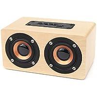 木製ブルートゥーススピーカー EIVOTOR ポータブル ダブルスピーカー ワイヤレススピーカー 10w 2000 mAh充電池 小型 パソコン 搭載 AUX 入力 ハンズフリー 通話 高音質 重低音 ミニ TFカード サポート イエロー