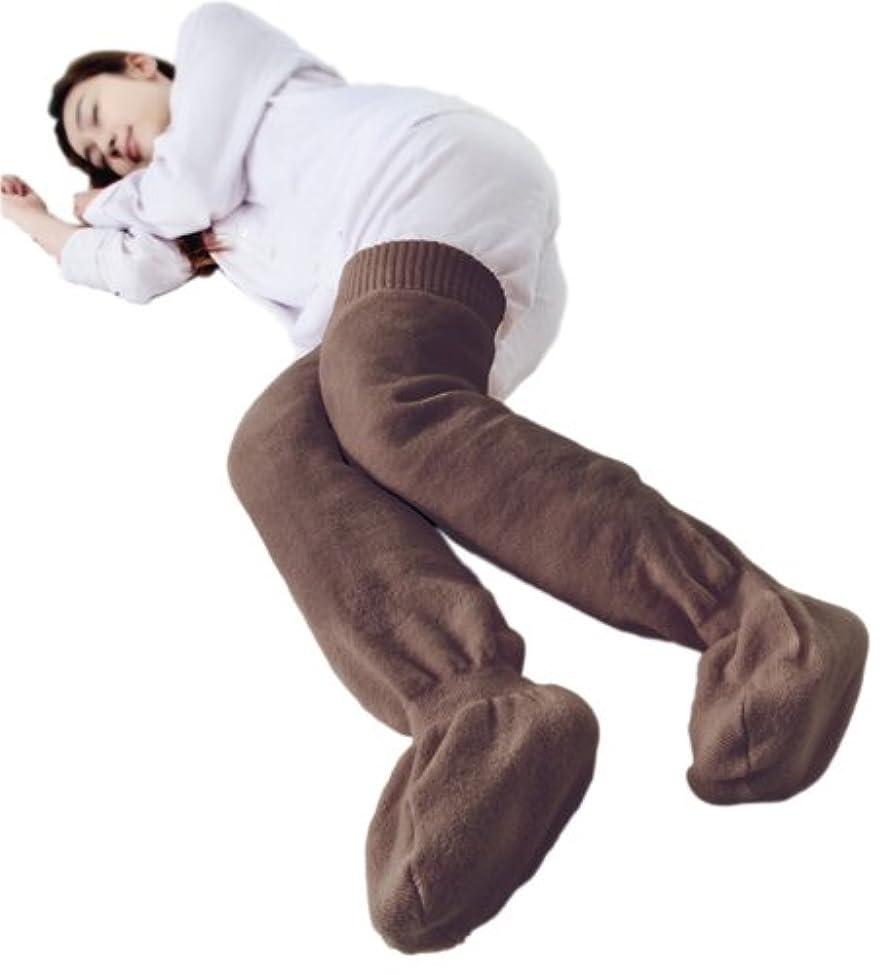 オーバーフロー朝札入れ足暖暖ソックス ブラウン
