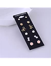 Zranda+ 6 Pairs Earrings Fashion Flower Popular Small Ear Jewelry