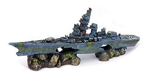 Penn-Plax 沈没した戦艦 アクアリウム(水槽用アクセサリー)...