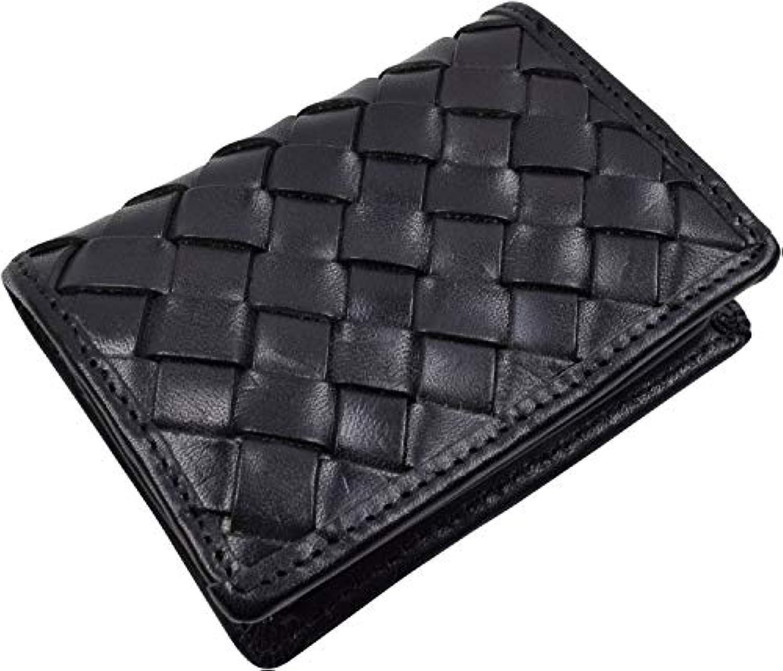 LEATHER-Z 栃木レザー 編み込み 小銭入れ ボックス型 コインケース 本革 メッシュ 小さい財布 TGM-107W