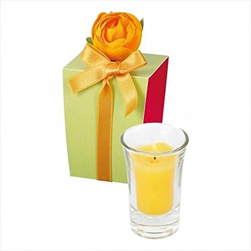のヒープアルバニー間欠カメヤマキャンドル(kameyama candle) ラナンキュラスグラスキャンドル 「 イエロー 」