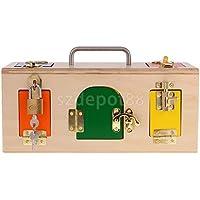 ブナ材Montessori Kidsロックおよびロック解除トレーニング木製ロックボックス