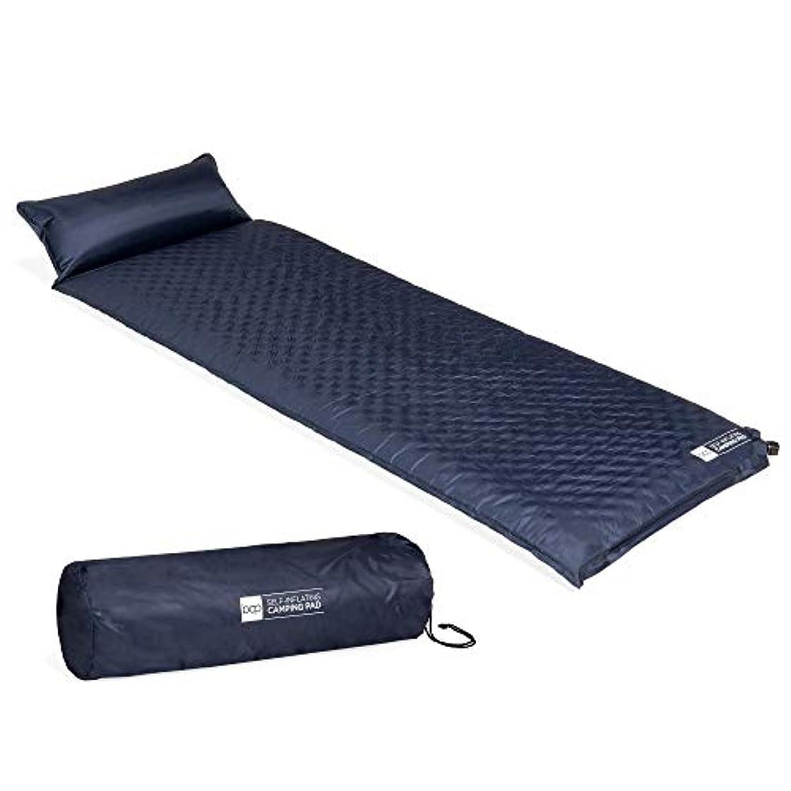 空気おびえた獲物Best Choice Products 軽量 耐候性 自己膨張 タフテッド キャンプ 睡眠パッド 枕付き キャリーケース