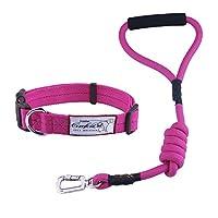 ThinkPet 犬用リード&首輪セット ナイロン製 ロープ 耐久性 頑丈 安全なお出かけに ハンドル付き 手触りがいい 散歩・トレーニングに最適