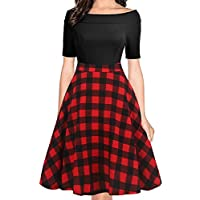 oxiuly Women's Vintage Casual Off Shoulder Pockets Cocktail Work Swing Dress OX232