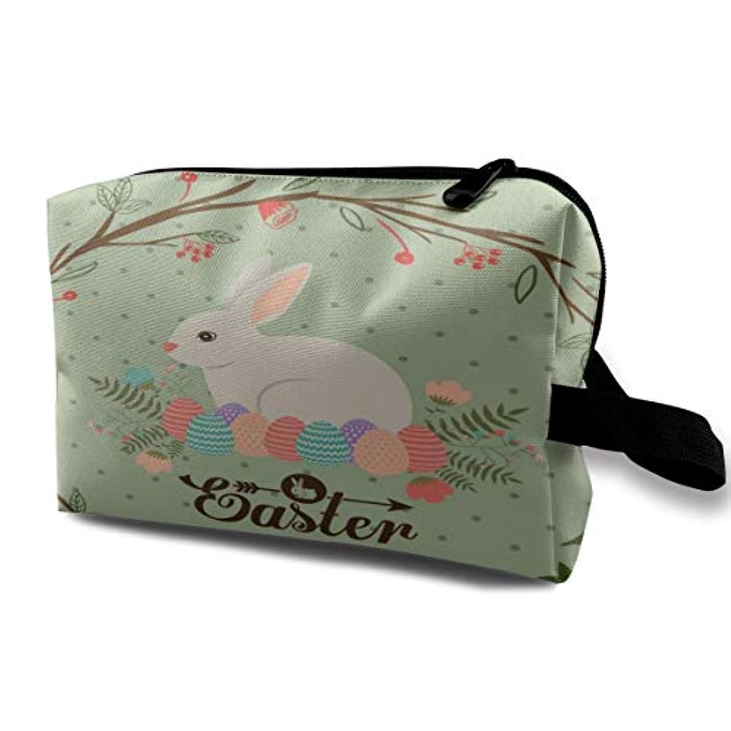 地雷原ハントふさわしいEaster Bunny Rabbit Colorful Eggs 収納ポーチ 化粧ポーチ 大容量 軽量 耐久性 ハンドル付持ち運び便利。入れ 自宅?出張?旅行?アウトドア撮影などに対応。メンズ レディース トラベルグッズ