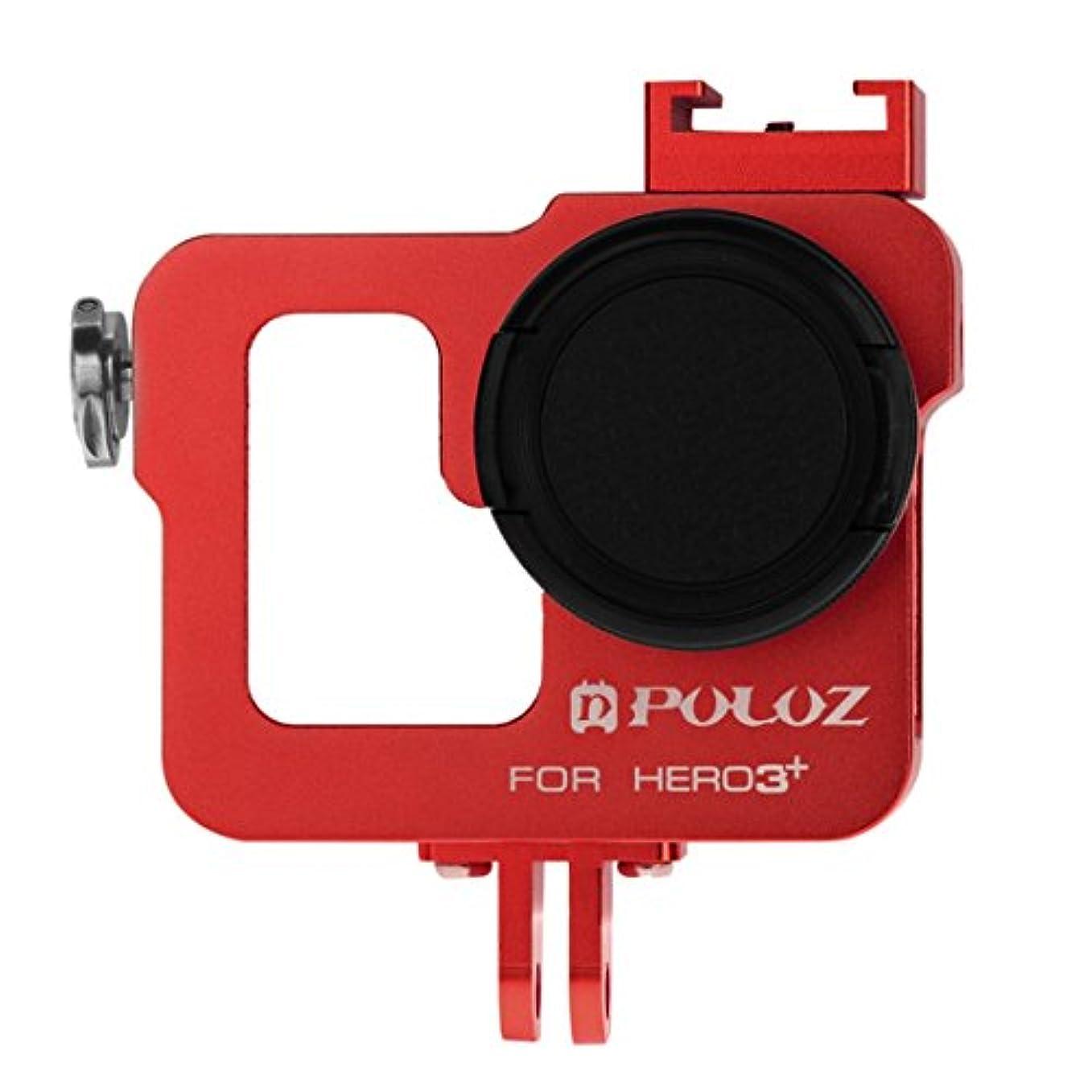 彼一口虐殺RAOFEIJP カメラ保護ケース 耐衝撃保護ケース ハウジングシェル37mm UVレンズフィルター&レンズキャップ付きCNCアルミニウム合金保護ケージ、GoPro HERO3 / 3 (色 : Red)