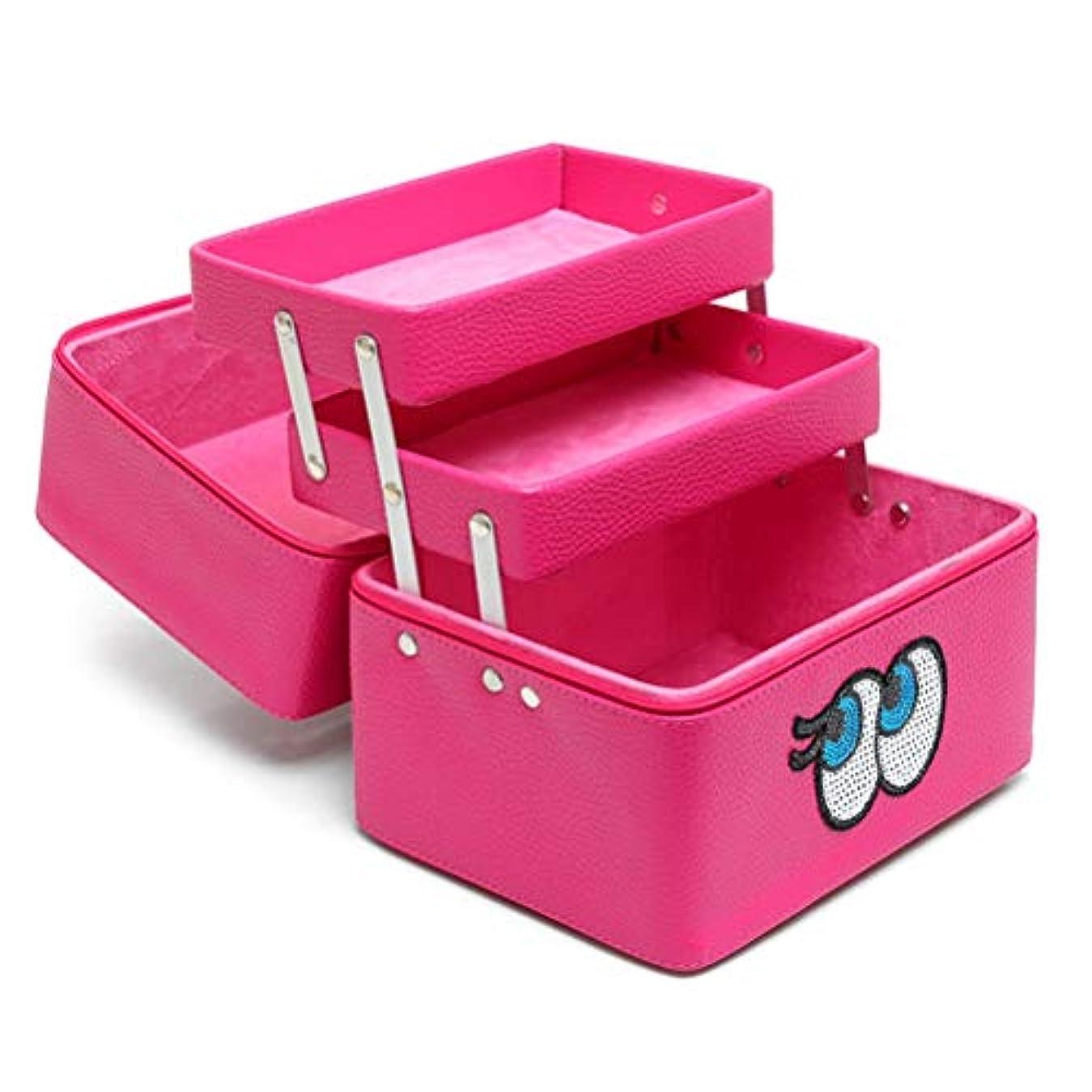 リテラシーチャンバー小包メイクボックス 化粧品収納ボックス 多層 コスメボックス メイクケース スキンケア用品入れ 中身 コスメ収納 取っ手付き 持ち運び 防水 ファスナー 可愛い 防塵 鏡付き 機能的 プロ 化粧BOX