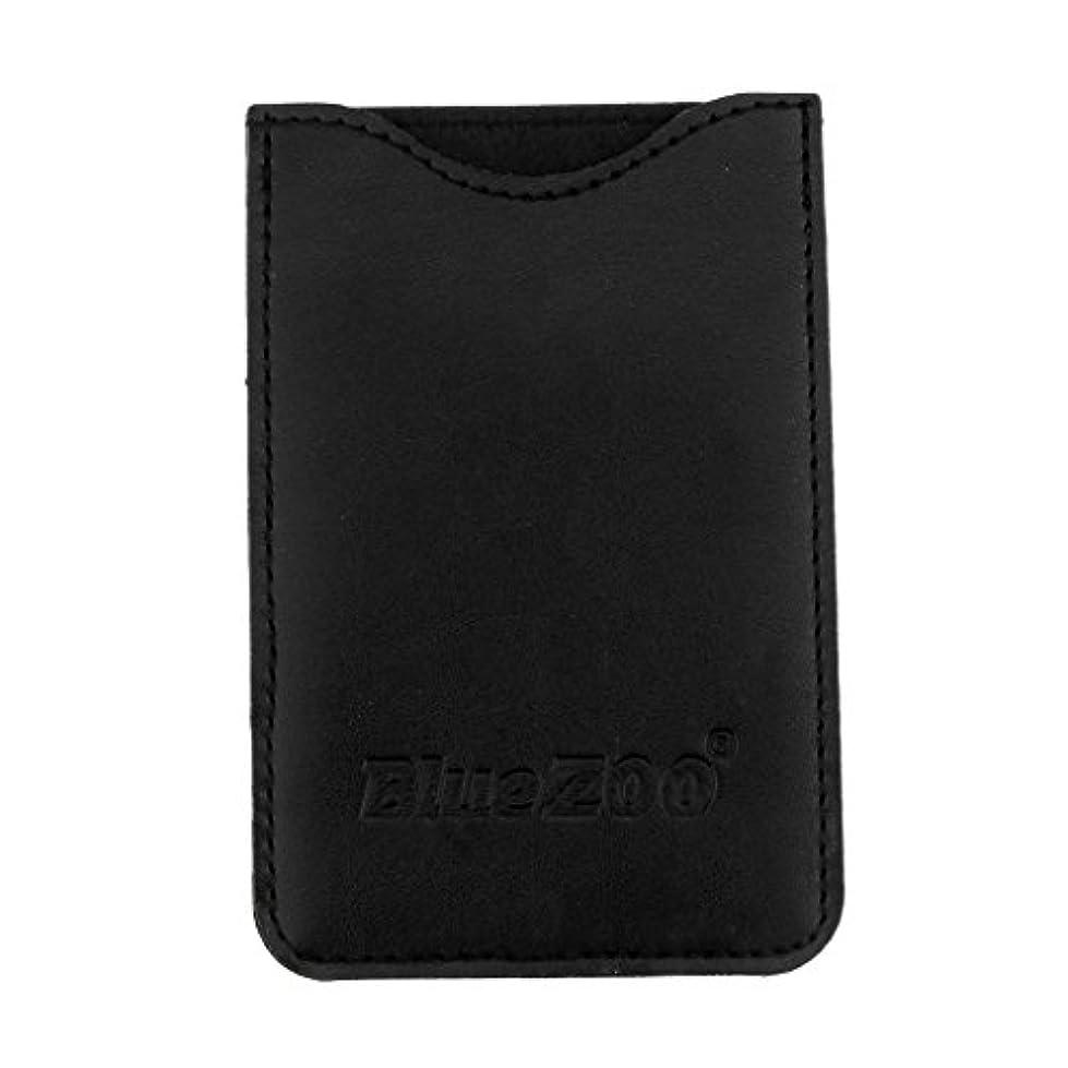 サミット一方、縁Toygogo PUレザー ポケット コームバッグ 櫛バッグ 収納パック 保護カバー 柔らかい 全2色 - ブラック