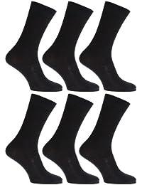メンズ抗菌竹繊維スーパーソフトカジュアルゴム無しトップソックス靴下セット(6足組)男性用 (24.5cm~29.5cm) (ブラック)