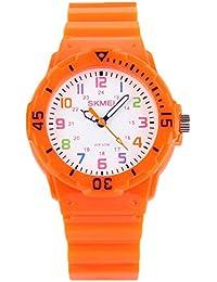 かわいいオレンジ色の子供たちの時間の教師の腕時計、2つの表示モード、女の子の子供たちが見てカラフルな数字