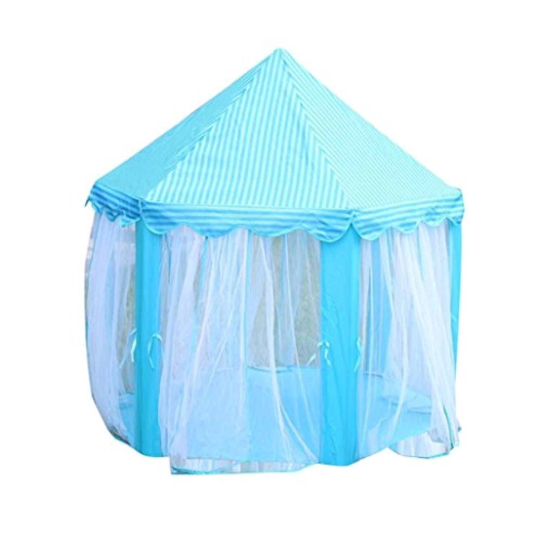 Rosiestゲームテントプリンセス城子供のテントゲーム家の再生の子供ポータブルテントベビービーチおもちゃアウトドアキャンプもOK 140*135CM ブルー Rosiest