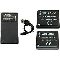 [WELLSKY] Panasonic パナソニック DMW-BCJ13 互換バッテリー 2個 & 超軽量 USB 急速互換充電器 DMW-BTC5 1個 [ 3点セット ] [ 純正品と同じよう使用可能 残量表示可能 純正 互換バッテリー共に充電可能 ] LUMIX ルミックス DMC-LX5 / DMC-LX7