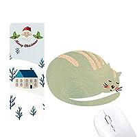 眠い猫の動物のペットの水彩画 サンタクロース家屋ゴムのマウスパッド