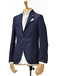 LARDINI【ラルディーニ】シングルジャケット JI903Q/EAA46558/1 linen cotton SHADOW CHECK NAVY(リネン コットン シャドーチェック ネイビー)