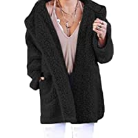 Macondoo Women's Fall Winter Hooded Coat Fuzzy Sherpa Open Front Loose Jackets