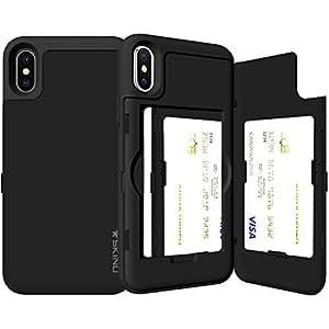 [最新機種対応] iPhoneX/XS ケース 《SKINU》カード収納可能・衝撃吸収抜群・傷防止・ミラー付き・スタンド機能・ICカード/クレジットカード完璧収納(SFブラック)