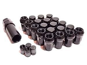 ロックナット 外七角 袋ナット M12 P1.25 黒 4穴 / 5穴 20個入り エアバルブ セット (ブラックP1.25)