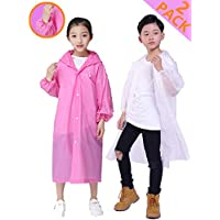 HLKZONE Rain Coats for Kids, [2 Pack] EVA Emergency Reusable Outwear Rain Coat Rain Poncho Jacket