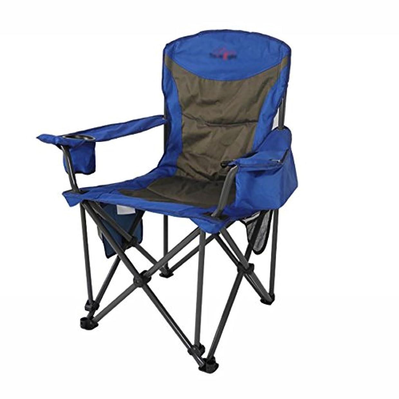 台風火曜日農民ZGL 旅行椅子 アウトドア折りたたみ椅子、アームレスト付きポータブル釣りスツールカジュアルリクライニングランチブレイクビーチチェアスケッチチェアブルー