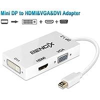 DIZA100 Mini ディスプレイ DisplayPort(MiniDP)to DVI/HDMI/VGA変換アダプタ Apple MacBook, MacBook Pro, MacBook Air, iMac, Mac mini, Mac Pro, Microsoft Surface Pro/Pro 2/Pro 3 ,ThinkPad Carbon X1 Series (白)