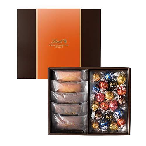 リンツ (Lindt) チョコレート 焼き菓子ギフト [ フィナンシェ 5個/4種 リンドール 20個/7種 ] 個包装 ギフトセット ショッピングバッグM付