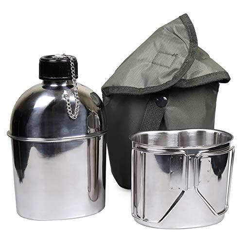 Goetland ステンレス鋼 米軍 ミリタリー 水筒 1L カップ 0.5L キャンティーンカップ (1.2L 水筒 + 0.6Lカップ)
