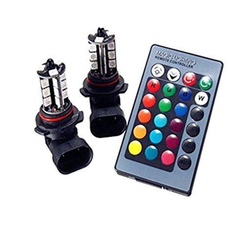 『HB4 9006 LED フォグ ランプ RGB マルチカラー(レッド ブルー グリーン イエロー ピンク パープル) 5050SMD 27チップ 16色切替 点灯パターン多数 2個セット リモコン付き イベント用 (HB4)』の3枚目の画像