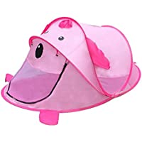 【ノーブランド品】子供 元気 動物の形テント 折り畳み式 庭 キャンプのおもちゃ 贈り物 便利 全4パタン - ピンク 犬