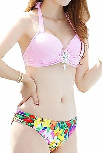 (Willing)水着レディースビキニ2点セットビシュー付き体型カバー大きいサイズパンツプールフリル飾り花柄SML(25:タイプBピンクM)