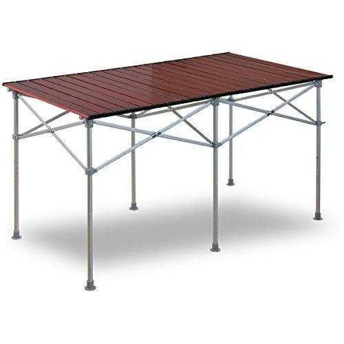 FIELDOOR ウッドロールテーブル 幅126cm×奥行70cm×高さ40cm/70cm コンパクト収納 レジャー BBQ キャンプ ア...