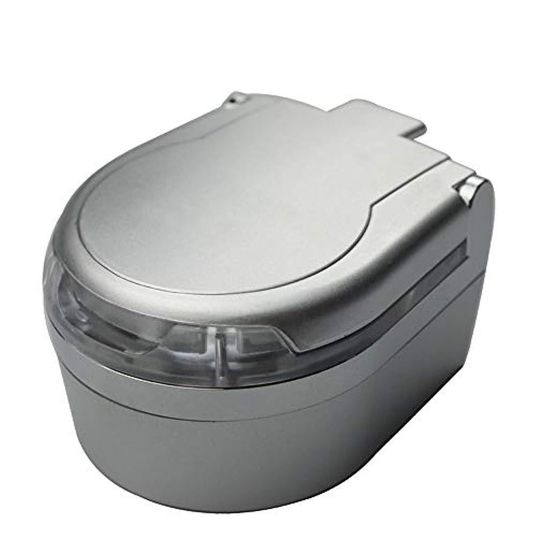 ストライド模索制約ふた付き3色オプションの車の灰皿クリエイティブ屋外灰皿 (色 : 銀)