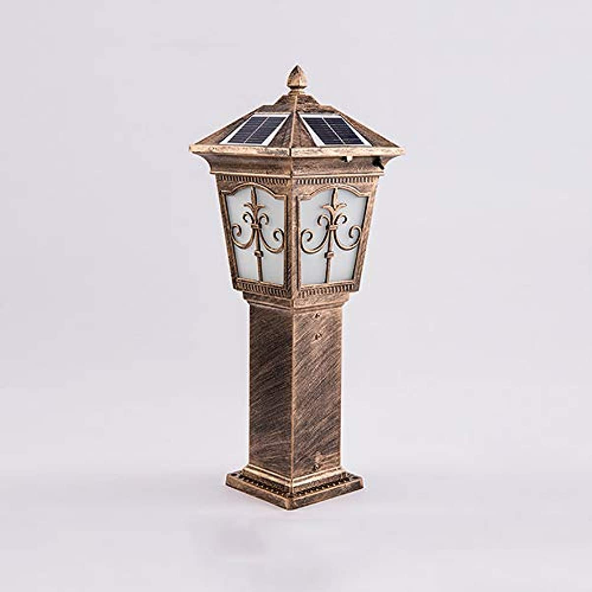 誰も穴段階Pinjeer Ledソーラー2色調光防水屋外ポストライトヨーロッパヴィンテージアルミガラスコラムライトガーデン芝生風景ヴィラ家の装飾柱ランプ (Color : Brass, サイズ : Height 62cm)