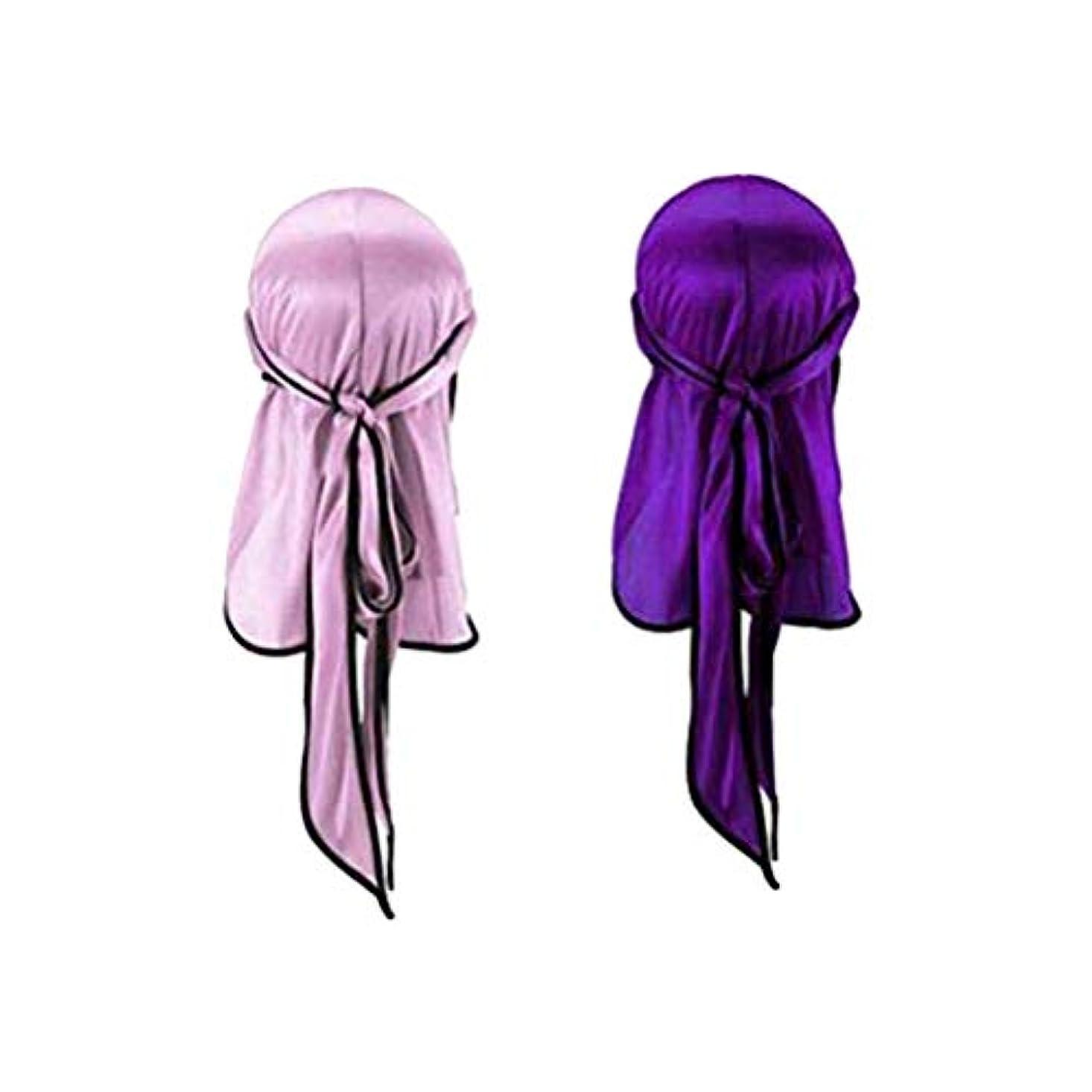 鉛筆洪水現実的Toyvian ナチュラルシルクスリープナイトキャップヘッドカバーボンネット用ヘア美容スカーフロングテール海賊帽子ヘッドドレス用屋外スポーツ2ピース