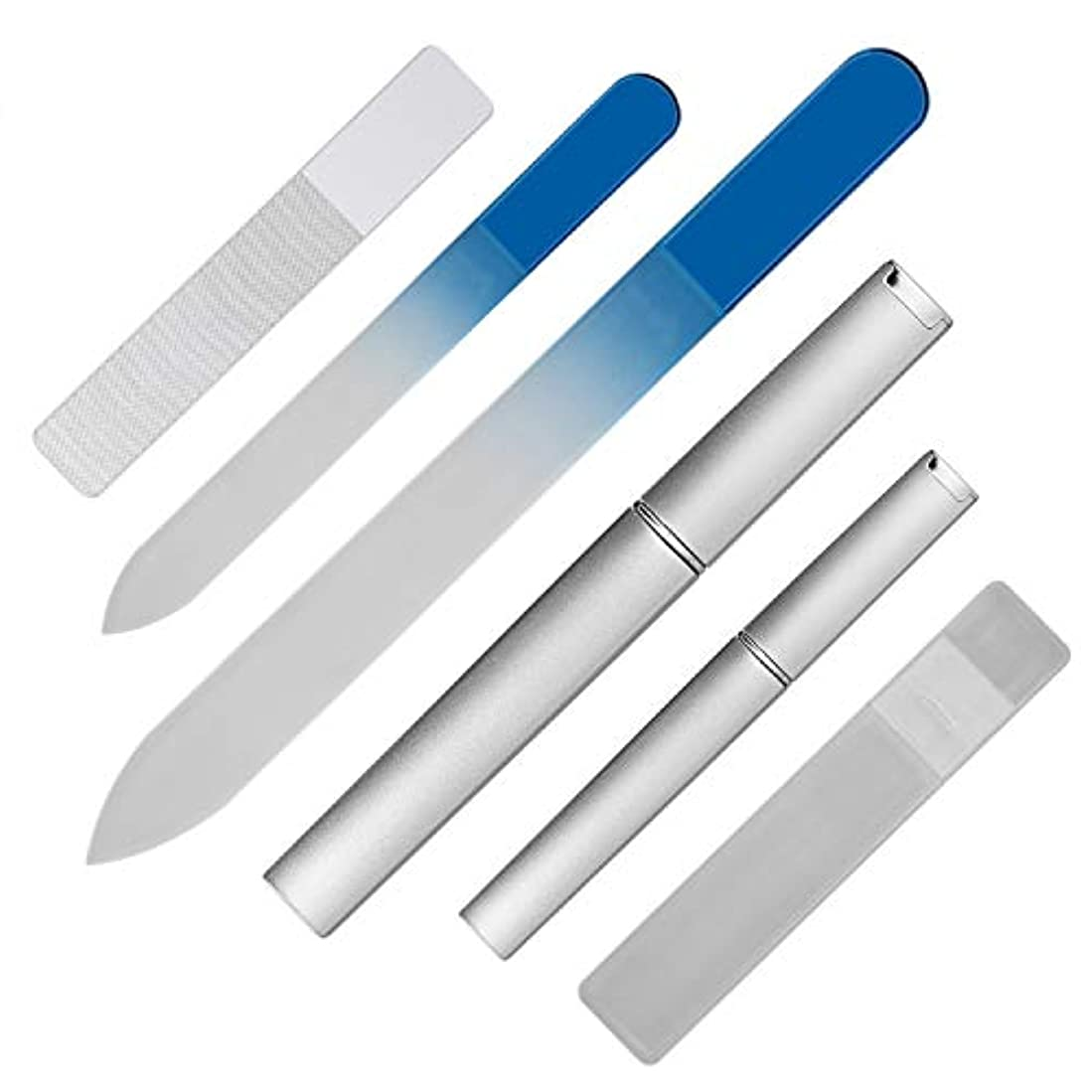 制限さておきレース爪やすり ガラス製 爪磨き つめみがき ネイルケア用品 大小3個セット j-cheng (ブルー)