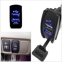 FidgetGear Car Boat Dual USB Charger+Blue LED Light Power Socket For Rocker Switch Panel