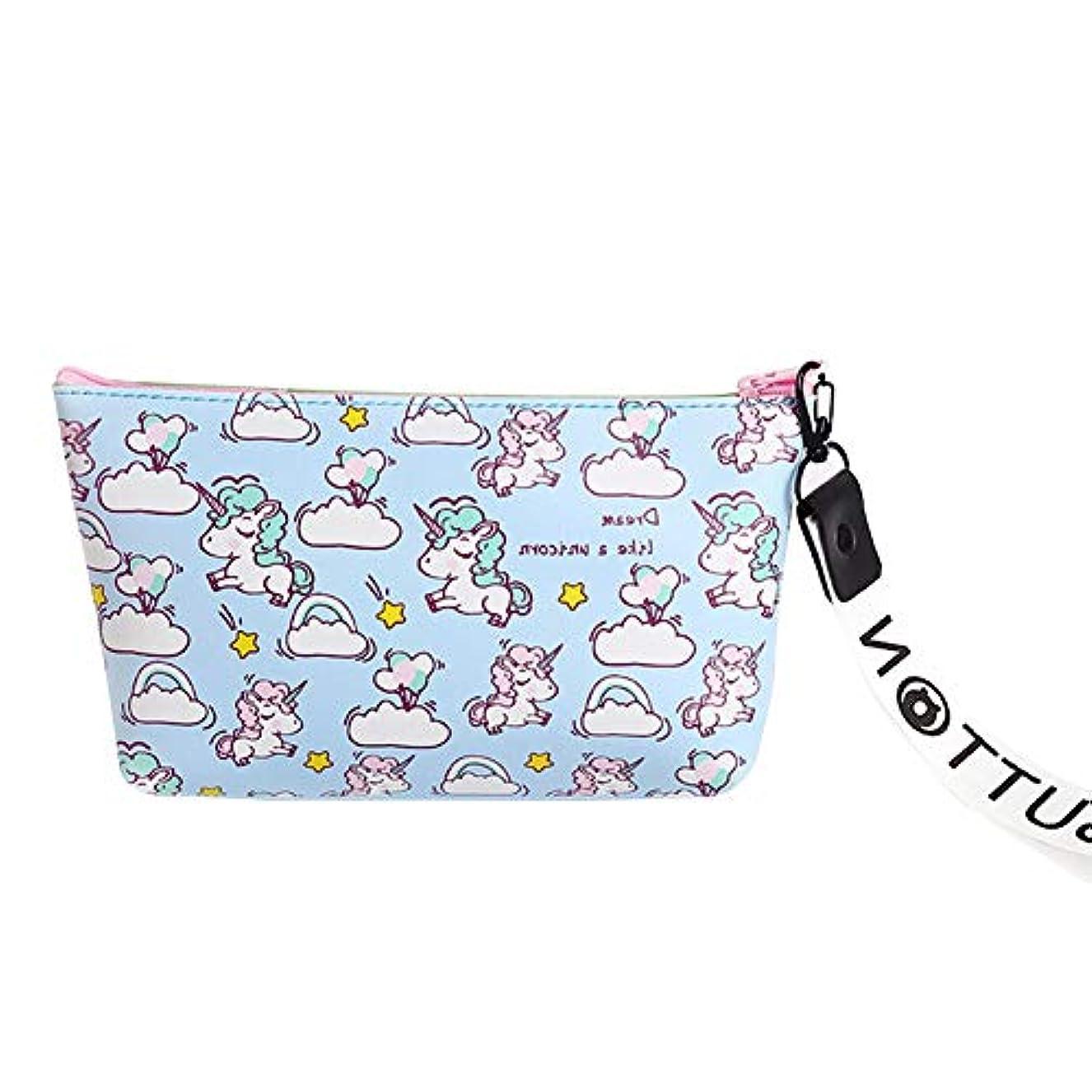 正確な偽徹底的に防水旅行バッグの漫画ユニコーンパターン化粧ポーチ化粧品袋愉快なクラッチ多機能ペンブルーl