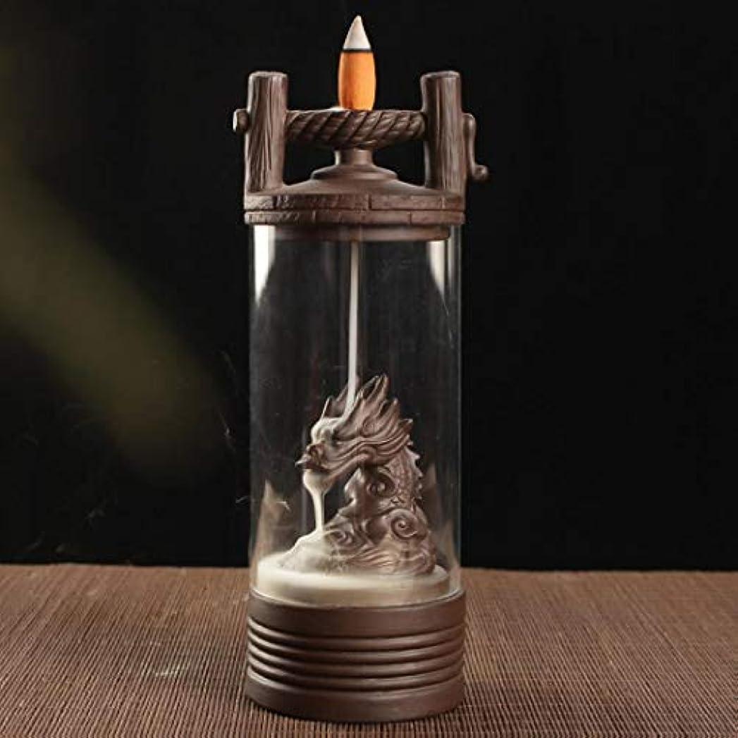 トラック建物粘液Alenx ドラゴン 逆流香立て 家庭用香炉 逆流香10個付き 陶器香炉 香炉 ブラウン USZVTBO644722