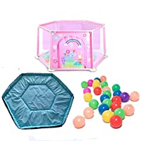 BSNOWF-ベビーサークル 200のボールとマット、アンチロールオーバー安全幼児アクティビティエリアとホーム屋内の赤ちゃんの再生庭 (色 : Pink)