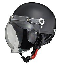 リード工業(LEAD) バイクヘルメット ジェット CROSS バブルシールド付きハーフヘルメット ハーフマットブラック フリーサイズ(57-60cm未満) CR-760
