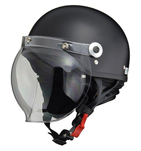 リード工業(LEAD) バイクヘルメット ジェット CROSS バブルシールド付きハーフヘルメット ハーフマットブラック CR-760 FREE (頭囲 57cm~60cm未満)