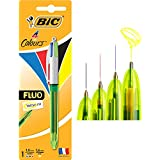 BIC 4 Colours Fluo Highlighter Retractable Ball Pens Medium Point (1.0 mm) - Pack of 1 Pen
