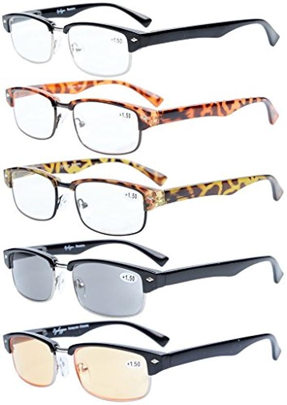アイキーパー(Eyekepper)バネ蝶番 プラスチックとメタルリム クラシック 屋外読書用 パソコン用眼鏡 PC用メガネ リーディンググラス シニアグラス 老眼鏡 5本セット (+1.00, ミックセット5本)