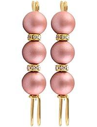 Prettyia 2個 ストールピン ショールピン ブローチ 3粒ビーズ ウェディング ブライダル 衣装 帽子 飾り 全7色 - ピンク