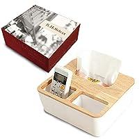 B.H. Select 収納 ボックス ティッシュ ケース おしゃれ シンプル デザイン インテリア 防水 (ナチュラルホワイト(収納ボックス付き)) BH70-2