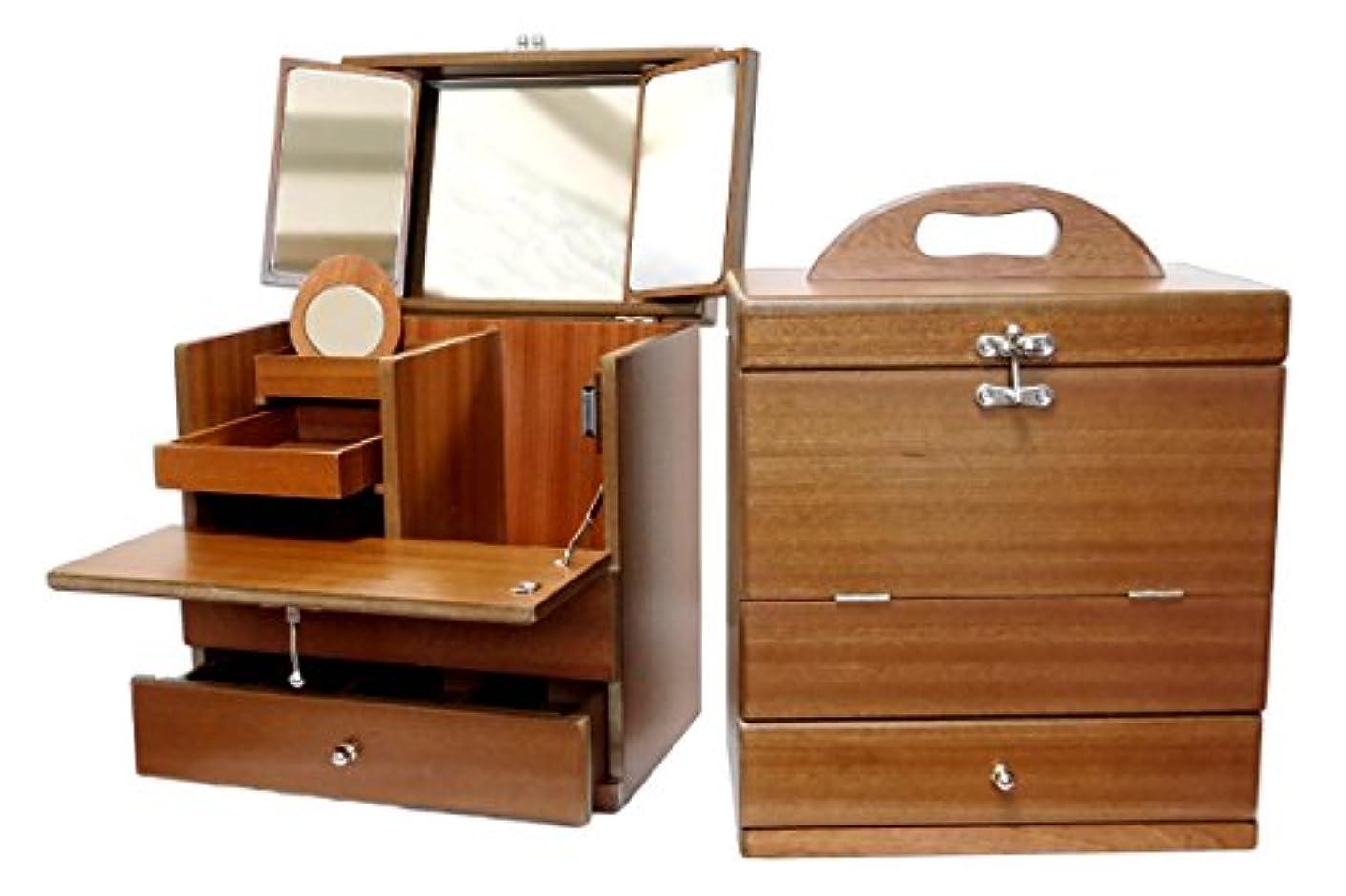 まさにおじいちゃん道に迷いました三面鏡メイクボックス 木製 木目調ブラウン