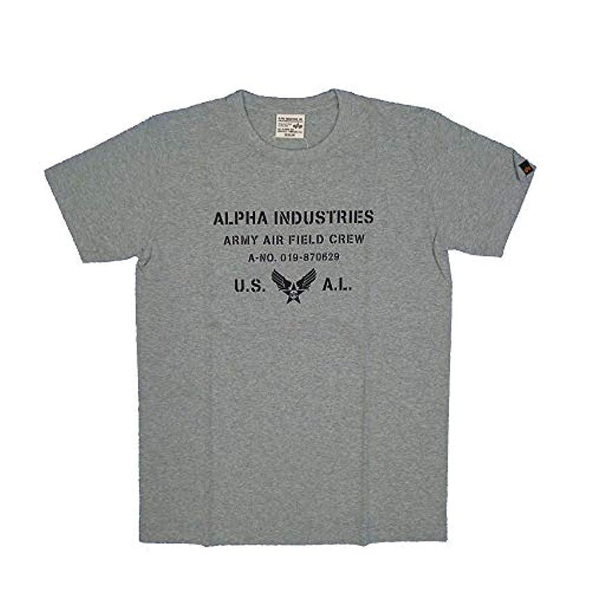 教育者羊の追うALPHA (アルファ) TC1097-1302 綿100% ARMY AIR CREWモチーフ プリントTシャツ グレー